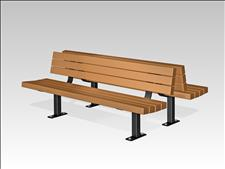 2027-6-P Double Bench (Recycled Plastic Slats),