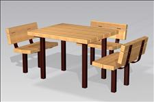2053 Accessible Table and Chairs (Wood Slats),