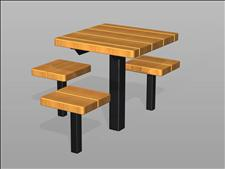2055-ADA Accessible Table and Seats (Wood Slats)