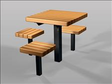 2059-ADA Accessible Table and Seats (Recycled Plastic Slats)