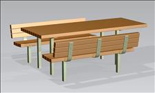 2070 Accessible Picnic Table and Benches (Recycled Plastic Slats)
