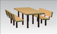 2071 Picnic Table and Benches (Recycled Plastic Slats)
