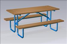2076-6 Picnic Table with Seats (Recycled Plastic Slats)