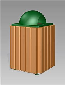 2089-DT Dome Top Litter Container (Recycled Plastic Surround)