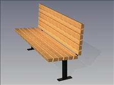 2140-6-ADA Accessible Contour Bench (Wood Slats)
