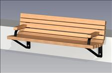 2143-6 Wall-mount Contour Bench with Armrests (Wood Slats)