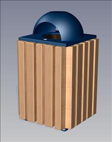 2148-AT Ash/Dome Top Litter Container (Wood Surround)