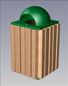 2148-DT Dome Top Litter Container (Wood Surround)