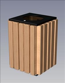 2148-FT Flat Top Litter Container (Wood Surround)