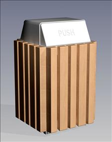 2148-HT Hamper Top Litter Container (Wood Surround)