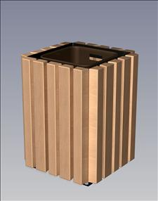2148-OT Open Top Litter Container (Wood Surround)