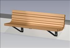 2154-6 Wall-mount Contour Bench (Recycled Plastic Slats)