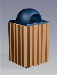 2157-AT Ash/Dome Top Litter Container (Recycled Plastic Surround)