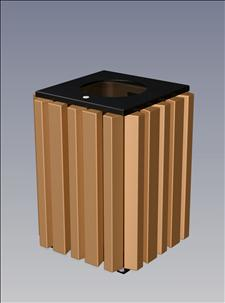 2157-FT Flat Top Litter Container (Recycled Plastic Surround)