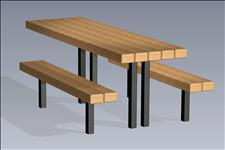 2163 Accessible Picnic Table with Seats (Wood Slats)