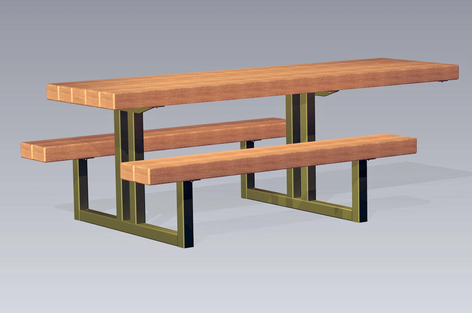 TimberForm Site Furnishings - Metal wood picnic table