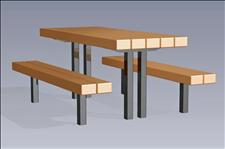 2166 Picnic Table with Seats (Recycled Plastic Slats)