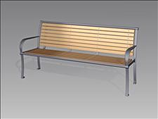 2626-6-ADA Accessible Bench with Armrests (Wood Slats)
