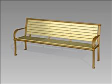 2626-6 Bench with Armrests (Wood Slats)