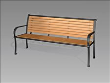 2636-6-ADA Accessible Bench with Armrests (Recycled Plastic Slats)