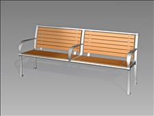 2637-6 Bench with Intermediate Armrest (Recycled Plastic Slats)