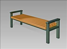 2843-6 Seat with Armrests (Recycled Plastic Slats),