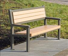 2846-6 Bench with Armrests (Recycled Plastic Slats),