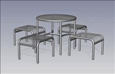 2925-0036 Profile Round Table with Four Legs