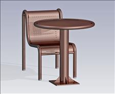 2932-0030 Boulevard Round Table with Center Support