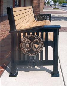 Craftsmen Bench with Custom Applique on Ends
