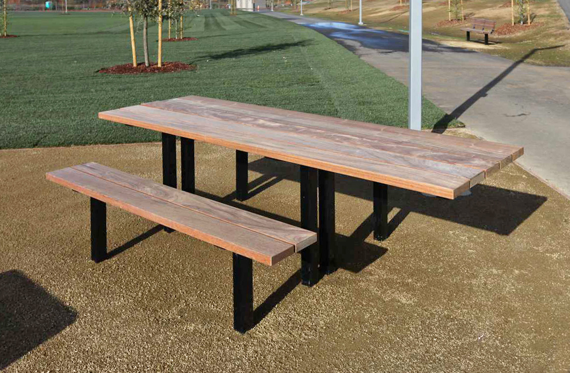 2163m accessible picnic table with seats ipe wood slats