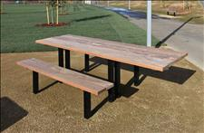 2163-M Accessible Picnic Table with Seats (Ipe Wood Slats)