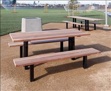 2162-M Picnic Table with Seats (Ipe Wood Slats)