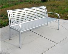 2624-6 Bench with Armrests, powder-coated in Chrome